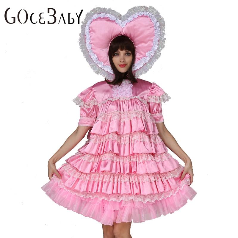 Adult Baby Sissy Girl Maid Satin Big Heart Dress Costume Uniform  Cosplay Costume