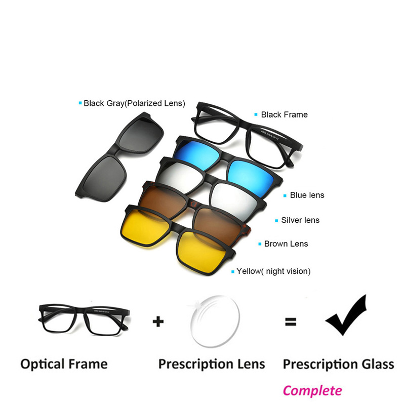 Prescription Glasses Driving Optical Spectacle Frame Men Myopia With 5 Clip On Sunglasses Polarized Magnetic For