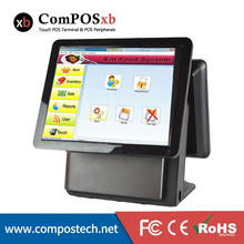 Touch sensitive 15″ Dual Screen Monitor All-in-one POS System Applied to supermarket retail cashier POS1618D