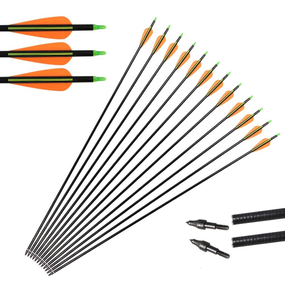 12pcs Children//Woman Fiberglass Arrows Hunting Practice Archery Training