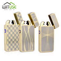 WITUSE Novelty Rechargeable 14 Styles USB Dual Arc Lighter Windproof Personality Electric Cigarette Lighter Double Plasma