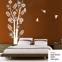 Natural Tree Wall Decal with Tree Shadow Birds Vinyl Tree Wall Sticker Living Room Bedroom Decoration 244cm x 152.4cm