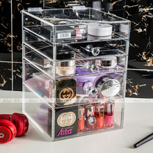 AILA Clear Acrylic Space-Saving Stylish Cosmetics Makeup and Jewelry Storage Case Display 4 Large Drawers and 1 Holder Box