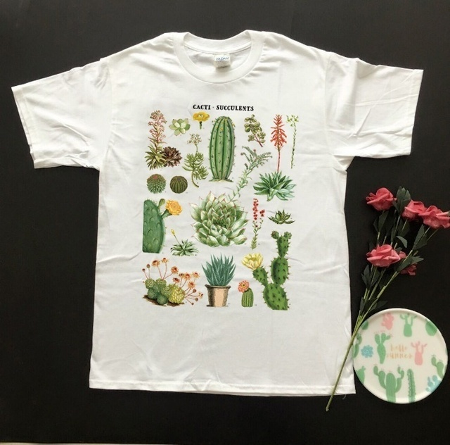 2f73d451ee109 US $11.9 |HAHAYULE HJN Cacti Succulents Printed Desert Tshirt White Tees  Department Plants T Shirt Unisex Vintage 90s TV Shows Graphic Tee-in  T-Shirts ...