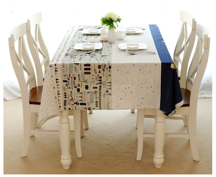 New Arrival Cotton Linen Dining Table Cloth DIY Curtain Window Door Cover Airplanes Paris Tower Print Tablecloth Manteles ZC017 In Tablecloths From Home