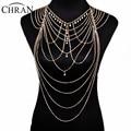 Chran Fashion Sexy Rhinestone Chain Bra Faux Pearl Shoulder Necklace Waist Belly Chain Bikini Body Chain Jewelry Dress CRBJ02