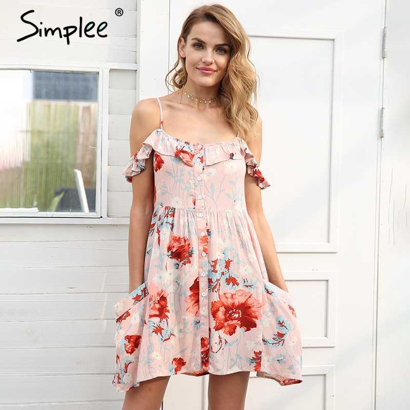 Женское летнее мини-платье Simplee на бретелях, платье с открытыми плечами в бохо стиле, с высокой талией, карманами, на пуговицах