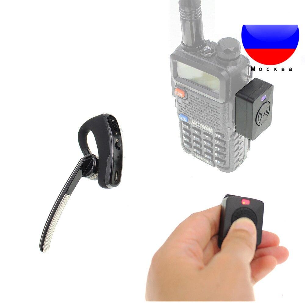 US $34 27 19% OFF|Walkie talkie Handsfree Bluetooth PTT earpiece wireless  headphone headset For Wouxun BaoFeng UV 82 UV 5R Radio/phone /Moto Bike -in