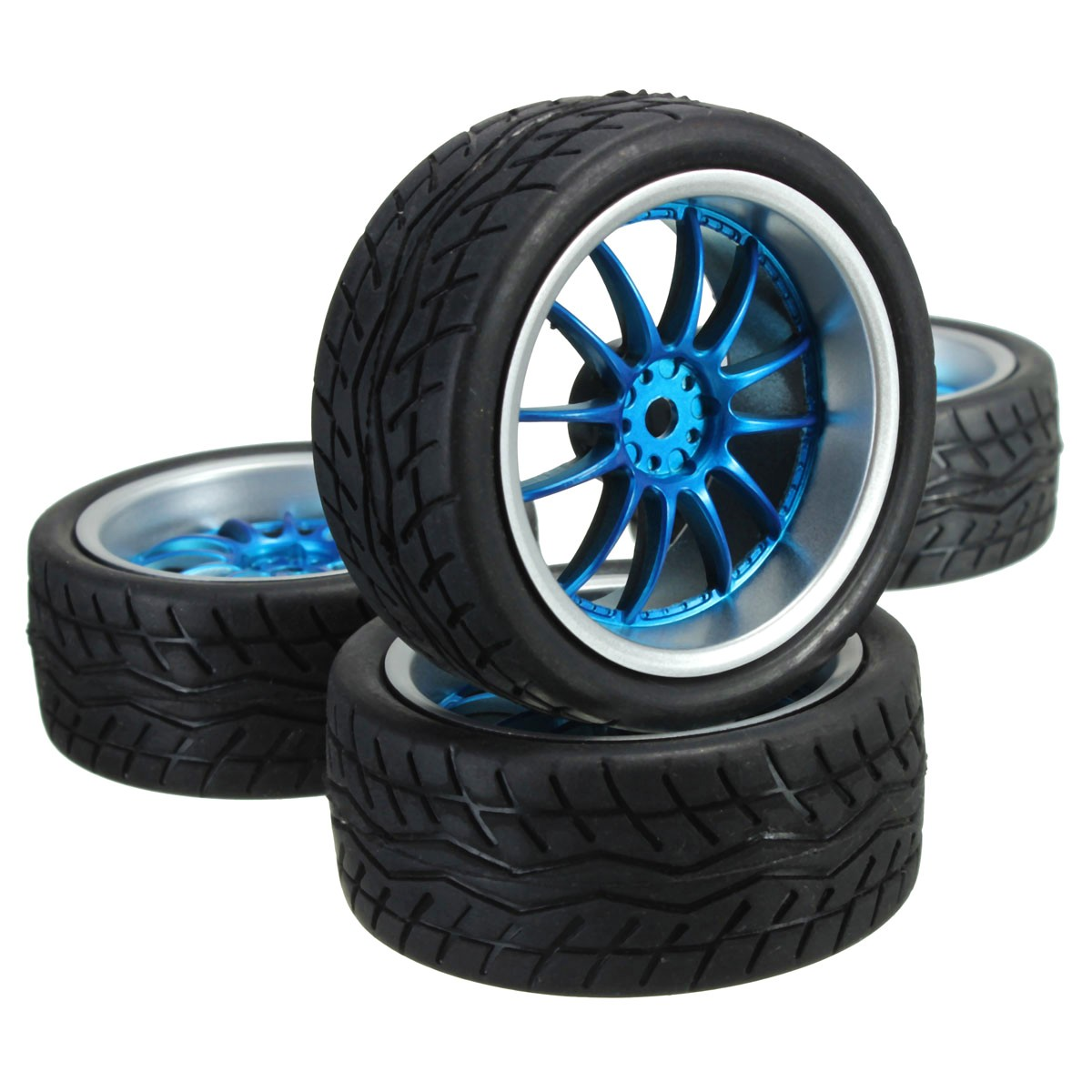 4Pcs Rubber RC Flat Racing Tires Tyre Wheel 12-spoke Wheel Rim For 1:10 On-Road Intelligent Model Car aluminum 6 spoke wheel rim for 1 10 rc on road racing car