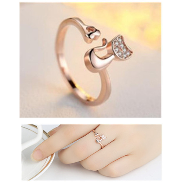 QCOOLJLY Rose Gold Color Cat Shape Wedding Engagement Adjustable Ring for Women CZ Jewelry Gift for Girl Party 2