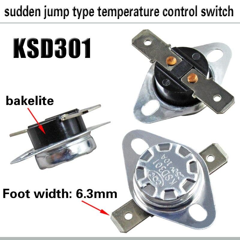 KSD301 10A 250V 50~ 150 градусов бакелит нормально закрытый Температура переключатель термостат 50 65 70 85 130 150 запчасти кондиционера