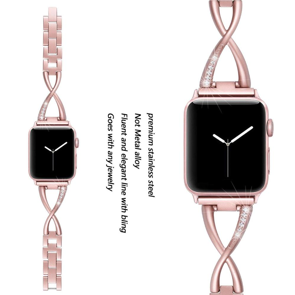 Stainless Steel Metal Band For Apple Watch Strap 38mm 40mm 42mm 44mm Women Iwatch Bracelet Series 4 3 2 1Wristband WatchBands in Watchbands from Watches