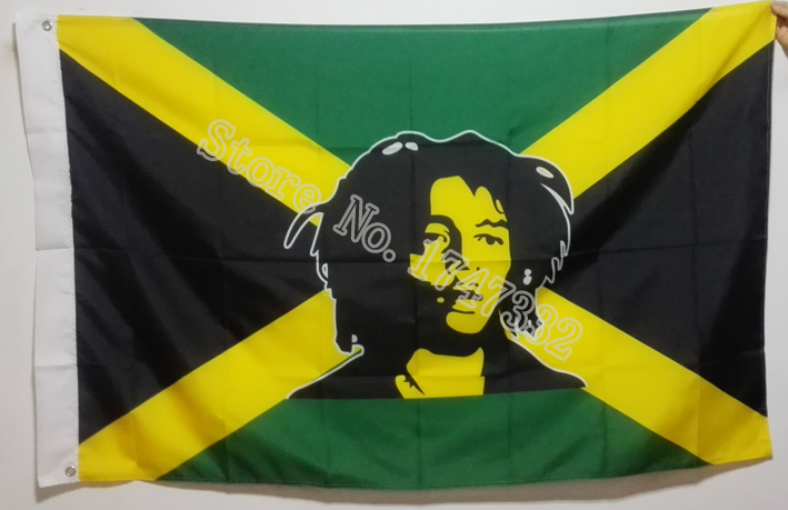 Jamaica Bob Marley Flag hot sell goods 3X5FT 150X90CM Banner brass metal holes image