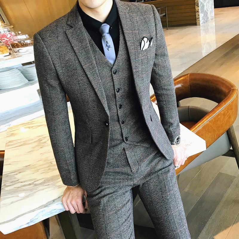 Lattice Mans Suit High Quality Suits Mens Slim Fit Plaid Suits Mens Vintge Terno Masculino Traje Hombre Formal Prom Tuxedos 2019