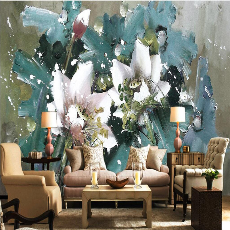 цена на custom 3d wall murals european wallpaper oil painting flowers background wallpaper for walls 3d bedroom home decor 3d wallpapers