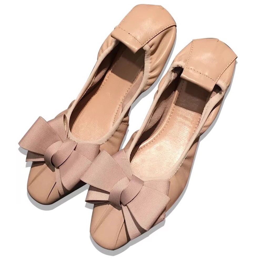 Women s Shoes Fashion New Genuine Leather Butterfly knot Flat Shoes Round Toe Slip On Casual