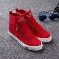 Новые высокие верхние ботинки Холстины Женщин Обувь женская Классический молния квартиры высота увеличение плоские туфли Sapatos femininos XK072205
