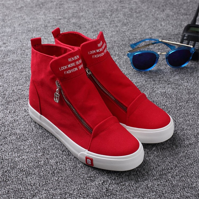 new high top casual shoes Women Canvas Shoes female Classic zipper flats height increasing flat shoes Sapatos femininos XK072205