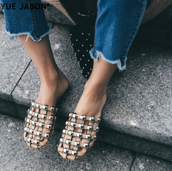 YUE JABON Fashion Amelia Leather Beach Sandals Mules Rivet/ Pearl/ Crystal Studded Slippers Women Flat Slides Caged Shoes Eur 44