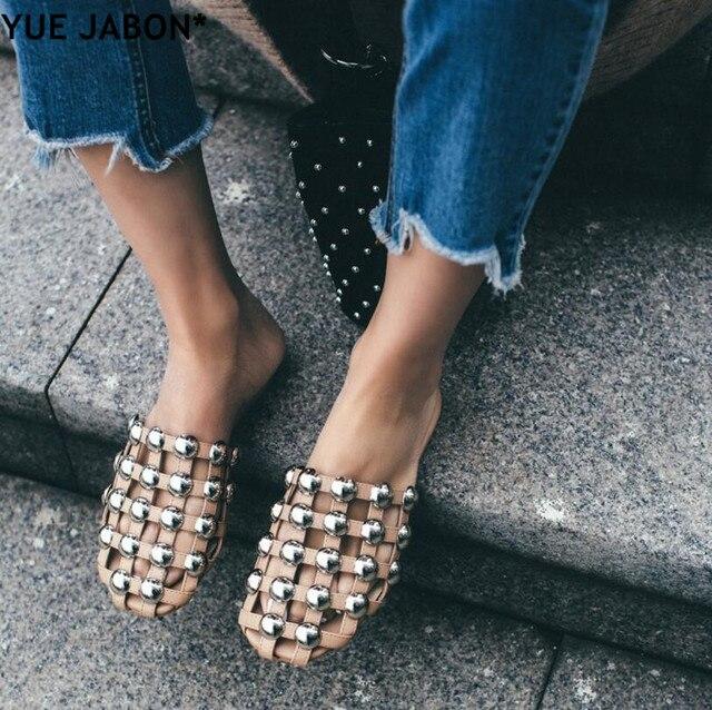 de6382650 YUE JABON Fashion Amelia Leather Beach Sandals Mules Rivet  Pearl  Crystal  Studded Slippers Women Flat Slides Caged Shoes Eur 44