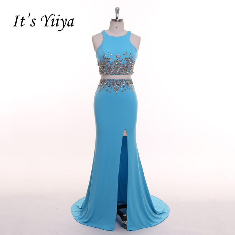It's YiiYa Blue Crop Top Two Pieces Mermaid Sexy Side Slits Crystal Beading Zipper Trumpet Party Formal Dress Evening Dress T040