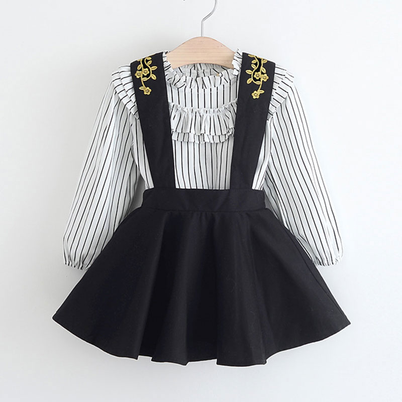 3-7T Baby Girls Clothes Stripe Tops Embroidered Jumper Skirt Girls Clothing Set Children Clothing Two Piece Kids Clothes Outfits
