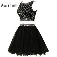 Новейшая модель; черные коктейльные платья 2019 Вечеринка из двух предметов платье из фатина, расшитое пайетками короткое платье для выпускн