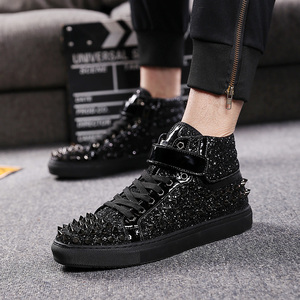 Image 2 - mens casual banquet prom wear breathable rivet shoes personality flat platform shoe outdoors stage ankle boots zapatos hombre