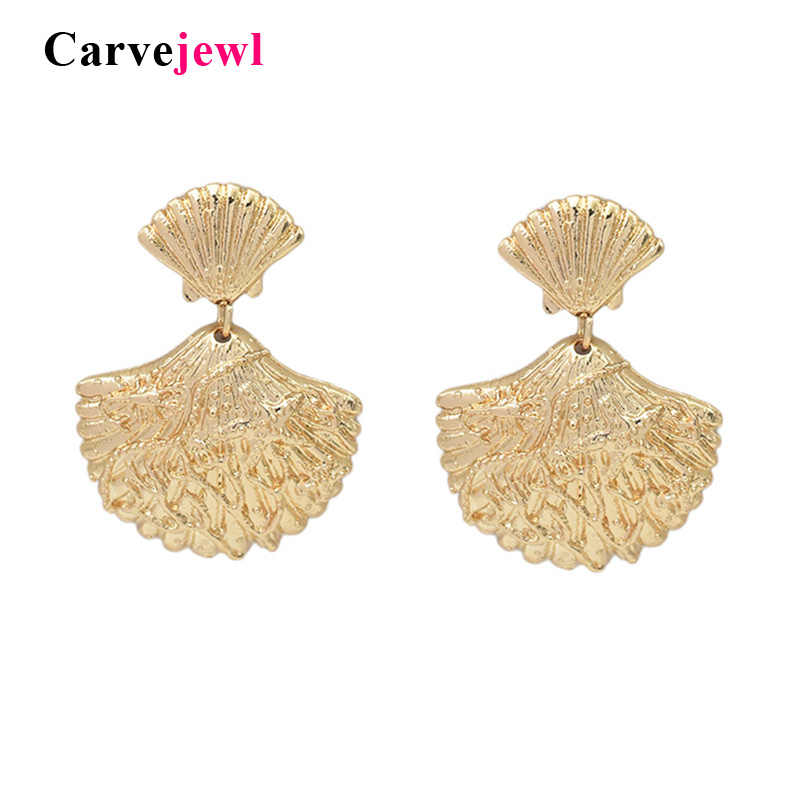 Carvejewl Fashion Women girl Bohemian Style Gold plating metal Shell Cowary Drop Earrings High Quality sea Shell Dangle Earrings