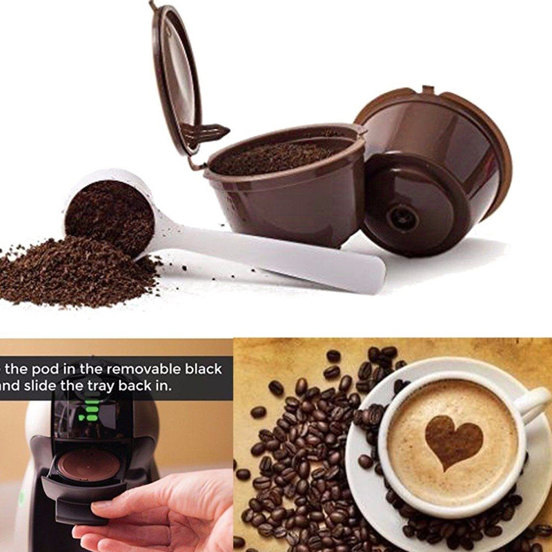 1 Pcs Reusable Nescafe Dolce Gusto Coffee Capsule Filter Cup Refillable Caps Spoon Brush Filter Baskets Pod Soft Taste Sweet