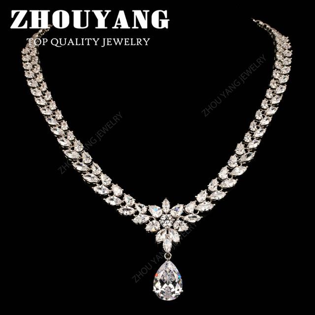 ZHOUYANG ZYN557 Luxuoso Gota de Água de Qualidade Superior branco Banhado A ouro Shinning CZ Colar de Jóias para a Festa de Casamento e