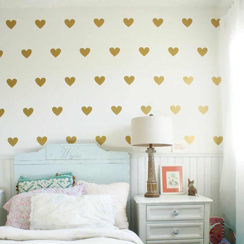 Baby Girl Room Decorative Stickers Gold Heart Wall Sticker For Kids Room Wall Decal Stickers Room Decoration Kids Wall Stickers