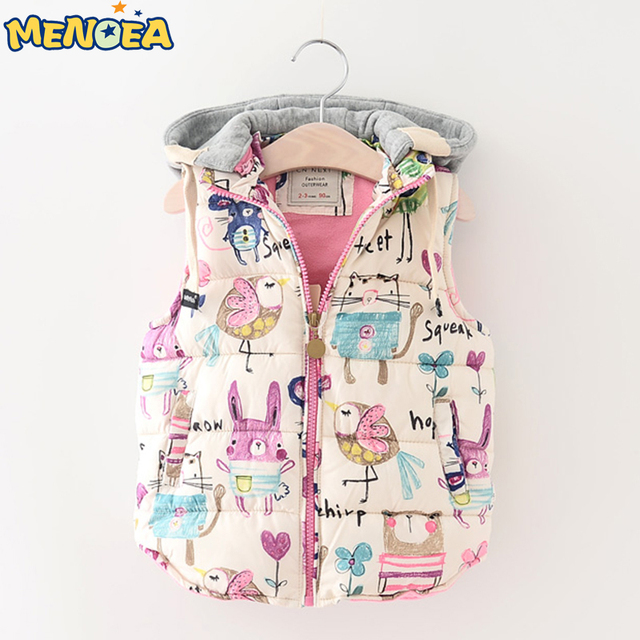 Menoea 2017 New Girls Vest Hooded Kids Jackets Children Clothing Winter Outerwear&Coats Graffiti Thick Baby Girl Warm Waistcoat