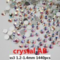 Glitter de Vidro Strass Para Unhas Decoração Art 1440 pcs ss3 1.2-1.4mm Branco Cristal AB Apartamento de Volta Não Hotfix Cola Em Diamantes