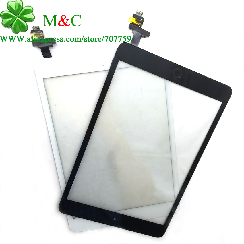 OEM 10pcs Tested Mini 1 2 Touch Panel For iPad Mini 1 Mini 2 Touch Screen Digitizer Panel IC Connector Home Button Assembly