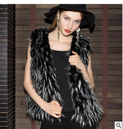 New Womens Artificial Waistcoats Large Size Man-Made Casual Waistcoats Female Vest Coats Sleeveless Jacket Waistcoats J1730