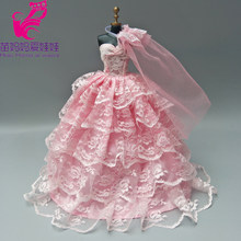 Free shipping Pink wedding dress with veil for barbie doll bride dress baby girl new year birthday gifts(China)