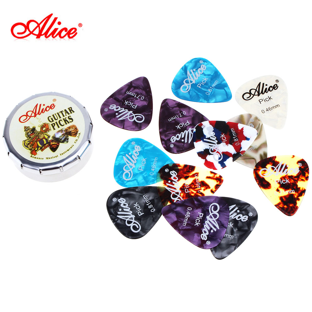 12pcs Acoustic Electric Guitar Picks Plectrums 0.46mm / 0.71mm / 0.81mm Xylonite Guitarra Picks Accessories + Metal Box