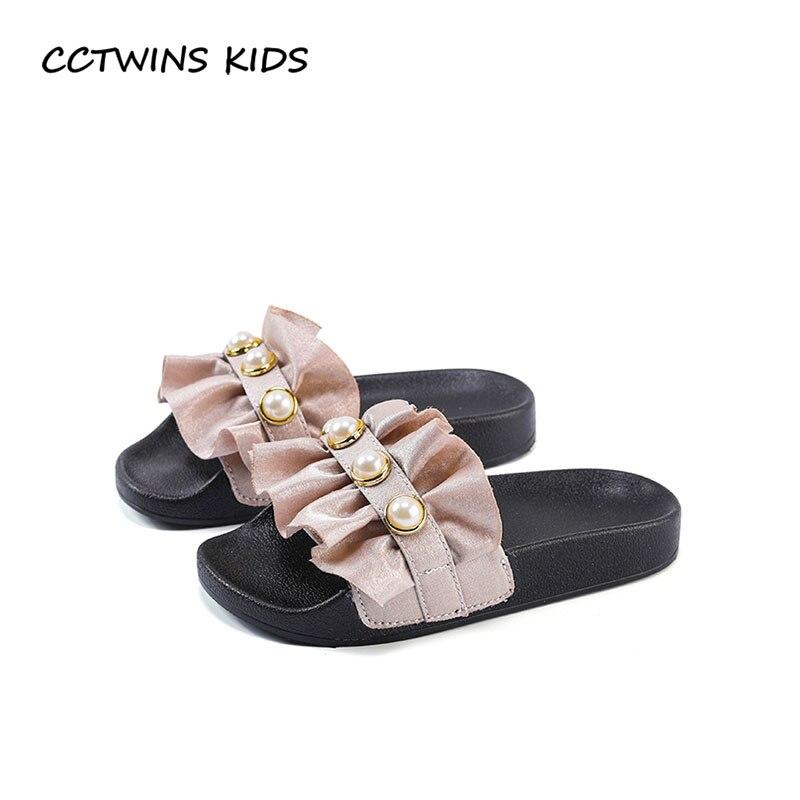 CCTWINS KIDS 2018 Summer Children Fashion Slip On Slipper Baby Girl Brand pearl Soft Shoe Toddler Black Mule BS024 adidas performance natweb i slip on shoe toddler
