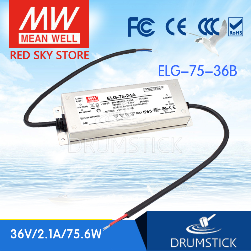 цена на MEAN WELL ELG-75-36B 36V 2.1A meanwell ELG-75 36V 75.6W LED Driver Power Supply B type [Hot10]