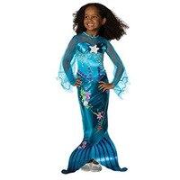 Fashion Blue Sheer Sleeve Baby Cute Cartoon Graffiti Fancy Dress Mermaid Costume Girl Cosplay Child
