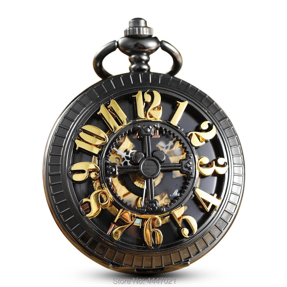 Black Hollow Mechanical Pocket Watch Chains Carving Arabic Mickey Skeleton Fob Watches Steampunk For Mens Gifts Relogio De Bolso