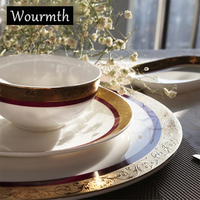 Wourmth Royal Bone China Porcelain Dinnerware Set Western Tableware Sets Dinner Plates Ceramic Dishes Coffee Mugs With Saucer