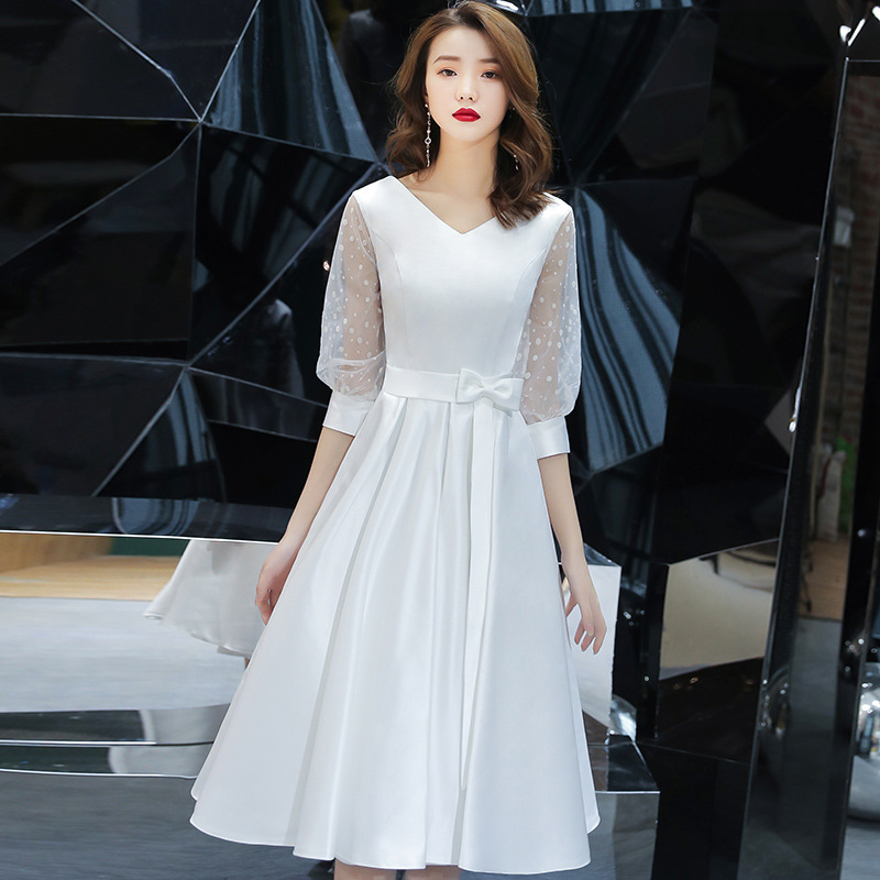 White Slim Dress Chinese Oriental V-neck Wedding Women Sexy Short Cheongsam Evening Dress Elegant Princess Dresses Modern Qipao