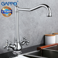 Gappo New Arrival Chrome Finished Kitchen Faucet Ceramic Pattern Decoration Double Handle G4065