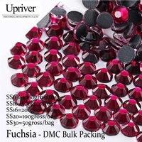 Upriver Wholesale Large Pack Bulk Packing ss6 ss50 High Quality Shiny Stones Fuchsia Hotfix Rhinestones For Dress Garment Bag