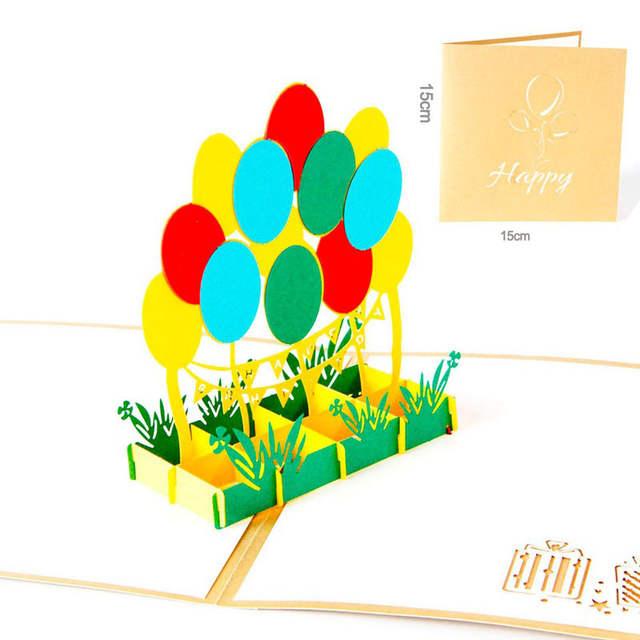3d Laser Découpé à La Main Enfants Enfants Joyeux Anniversaire Fête Ballon Papier Invitation Cartes De Voeux Carte Postale Entreprise Cadeau