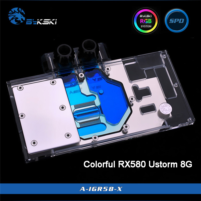 Bykski A-IGR58-X Full Cover Graphics Card Water Cooling Block for Colorful RX580 Ustorm 8G bykski a xf37bwpk x full cover graphics card water cooling block for xfx r9 370 370x 380 380x