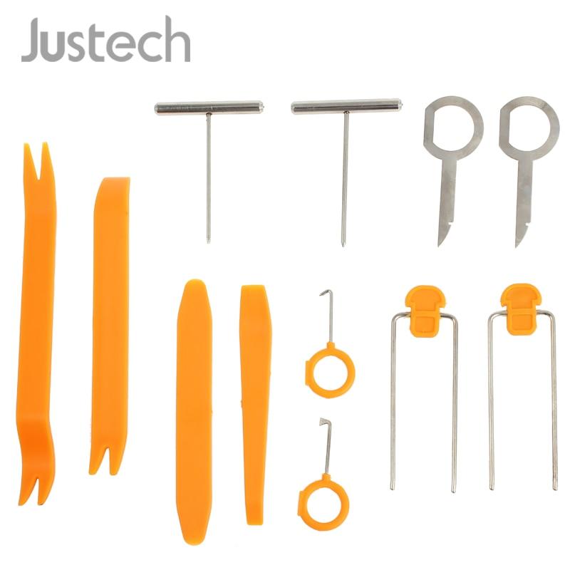 Justech Nuovo 12 Pcs decorazione di Interni Auto kit di Strumenti di Riparazione Autoradio Porta Clip Pannello di Rivestimento Dash Audio Rimozione di Plastica Della Leva di kit di strumenti di
