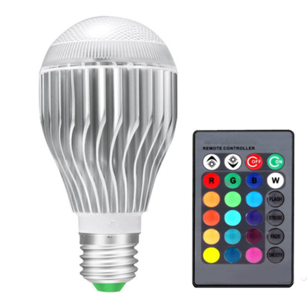 10w Led Rgb Color Changing Light Bulbs With 24 Keys Remote Control E26 Aluminium Dimmable Lamp --m25